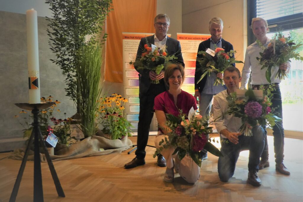vl: Andreas Vernker, Geschäftsführer; Luder Kuper; Christph Ddreisewerd; vorne Marion Rehkemper, Vors. Kolpingsfamilie; Michael Dreisewerd